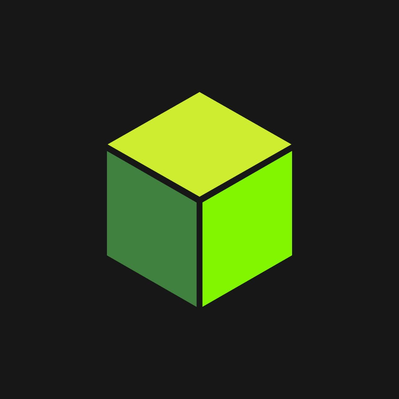 Зелёный куб логотип на черном фоне